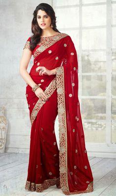 Brick Red Embroidered Chiffon Saree Price: Usa Dollar $115, British UK Pound £68, Euro85, Canada CA$123 , Indian Rs6210.