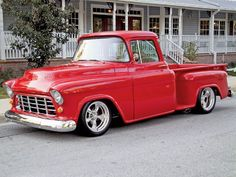 Check out Barbara and Ken Zimmerman's 1955 Chevy Stepside Truck with a 454 Chevy Big Block Engine and BFGoodrich Tires, Featured in the 2006 July Issue of Custom Classic Trucks Magazine. 55 Chevy Truck, Chevy Trucks Older, Gm Trucks, Lifted Chevy, Lifted Trucks, Chevy Stepside, Chevy Pickups, Classic Trucks Magazine, 1955 Chevy