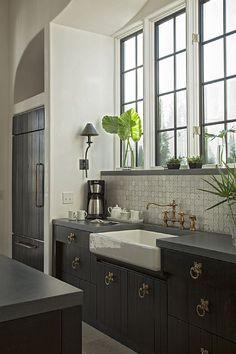 Alys Beach House Tour - Design Chic with bridge mixer tap Kitchen Tiles, New Kitchen, Kitchen Interior, Kitchen Decor, Kitchen Sink, Kitchen Vanity, Taupe Kitchen, Espresso Kitchen, Kitchen Windows