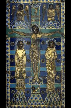 Christ on the cross. With three blue stripes and with deepened chosen rosettes. Copper plated, enamel (champleve). Limoges. 1200 - 1300.