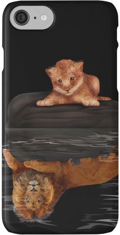 Cute little simba and the big old lion king reflection iPhone Cases & Skins #Case #CellPhone #iPhonecase #hardcase #thelion #cat #kitten #animals #kitty #kittens #lion #lionking #younglion #animals #bigkittens