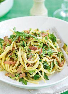 Low FODMAP Recipe and Gluten Free Recipe - Bacon, zucchini & rocket pasta http://www.ibssano.com/low_fodmap_recipe_bacon_zucchini_rocket_pasta.html
