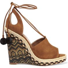 Aquazzura Palm Springs cutout suede espadrille wedge sandals (785 CAD) ❤ liked on Polyvore featuring shoes, sandals, brown, ankle strap wedge sandals, platform wedge sandals, ankle tie espadrilles, high wedge sandals and wedge espadrilles