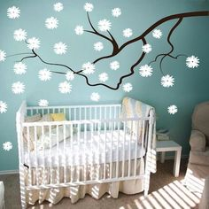 Nursery Contemporary Floral Branch Wall Decal is available in over 40 colors. Removable wall decals.