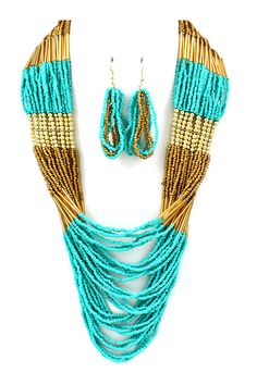Seraphine Necklace in Turquoise Gold on Emma Stine Limited