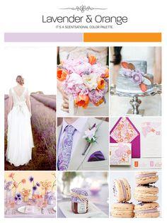 Lavender and orange wedding inspiration board, color palette, mood board via Weddings Illustrated.Ideas que podéis combinar el día de vuestra boda color púrpura-violetas con naranja