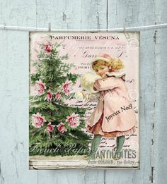 Shabby Pink Christmas Victorian Girl Download, Pink Christmas Digital, Snow, Printable Christmas Image, Transfer by FrenchPaperMoon on Etsy