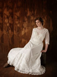 Victorian Lace Bridal Gown Vintage Lace by HopefullyRomantic Country Wedding Gowns, Unique Wedding Gowns, Vintage Lace Weddings, Unique Weddings, Wedding Dresses, Bridal Lace, Bridal Gowns, Victorian Lace, Bride