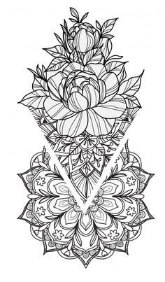 Tattoo drawing and hand sketch flowers and black white art illustration with the isolated line art Vector Premium Line Art Tattoos, Leg Tattoos, Body Art Tattoos, Small Tattoos, Xoil Tattoos, Octopus Tattoos, Anime Tattoos, Mandala Tattoo Design, Mandala Art
