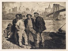 MARTIN LEWIS  Dock Workers Under the Brooklyn Bridge.   Aquatint and etching, 1916-18