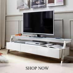 Albans Glass Top LCD TV Stand In White With High Gloss And 3 Drawers will make a stunning and remarkable addition in your home décor Finish: White High Gloss Features: Wall Tv Stand, Lcd Tv Stand, Glass Tv Stand, Black Corner Shelf, Wall Mounted Entertainment Unit, Tv Stand Furniture, Furniture Ideas, White Tv Unit, Modern Tv Cabinet