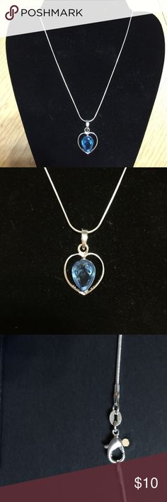 """Women's 16"""" necklace 925 Starling silver blue Women's 16"""" necklace 925 Starling silver blue with chain 925 silver Jewelry Necklaces"""