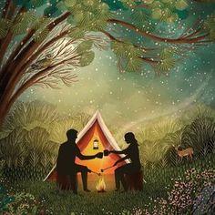 JANE NEWLAND Peace Bird, Romantic Camping, Woodland Flowers, Autumn Painting, Anniversary Cards, Happy Anniversary, Studio, Illustration Art, Friends Illustration