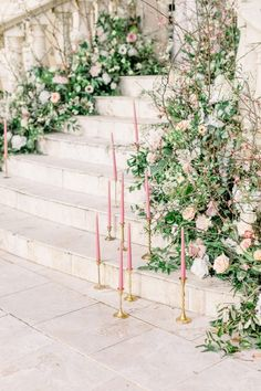 Stair case Floral wedding decor with greenery and pink flowers and pink taper candles Floral Wedding Decorations, Wedding Table Centerpieces, Flower Centerpieces, Garden Decorations, Centerpiece Ideas, Decor Wedding, Ceremony Decorations, Wedding Bouquets, Wedding Flowers