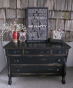 refinish my bedroom furniture like this! Black distressed Empire Dresser with a future antique black distressed mirror Call Us Black Furniture, Paint Furniture, Furniture Makeover, Furniture Design, Black Distressed Furniture, Furniture Stores, Dresser Makeovers, Furniture Outlet, How To Distress Furniture
