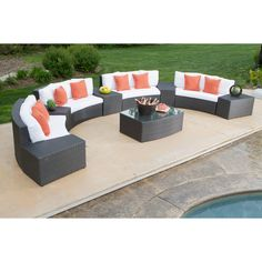 What an amazing sitting area for outdoor BBQs. With beautiful spring colors, 10 seats and drink table, this set is perfect for sitting and relaxing after Easter brunch!    #Easter #outdoordecor