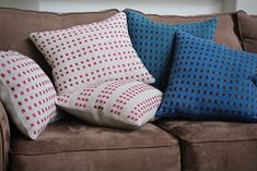 Two sets of handwoven linen dice weave pillows