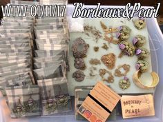 "WTW 01/11/17 Finishing up my ""Outlander"" custom order this week. 25 more earrings to make and couple of bracelets and necklaces. I sewed flannel fabric onto these cards I made for the packaging. Thistles were painted with lumiere paints and all other stampings from B'sue boutiques."