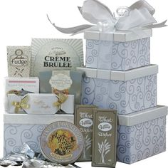 Art of Appreciation Gift Baskets Silver Swirls Gourmet Food and Snacks Gift Tower $60.98