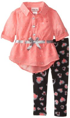 Little Lass Baby-Girls Infant 2 Piece Chiffon Shirt Legging Set, Coral, 18 Months