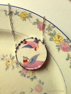 Broken china jewelry necklace antique two birds of paradise made from antique broken china