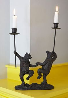 Just Can't Bear It Candle Holder. You can hardly handle the adorable allure the duo of dancing bears on this sturdy, metal candle holder brings to your abode! #black #modcloth