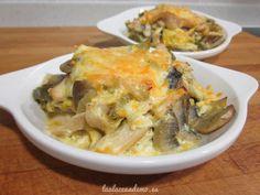 Receta de revuelto de verduras y pollo con queso gratinado para aprovechar unos filetes de pollo que habían sobrado.