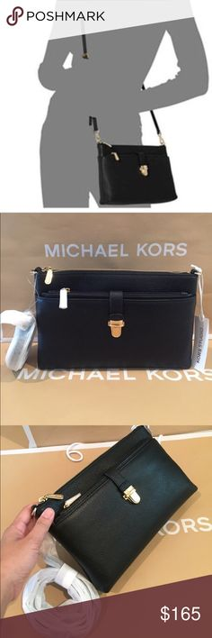 """🌹🌟Michael Kors Mercer Snap Messenger Black🌟🌹 100% Authentic Brandnew Michael Kors Mercer  Black Large Snap Pocket CrossbodyNWT With dual top zip closure compartments, it includes a removable adjustable crossbody strap. Features gold tone hardware and lock detail on front. The lined interior features a back wall zip pocket and multifunction slip pockets.   Specifications Material100% Cow Leather OriginImported Dimensions10.5"""" X 6.75"""" X 2""""; 26.75"""" ADJ Care & CleaningSpot clean with damp cl…"""