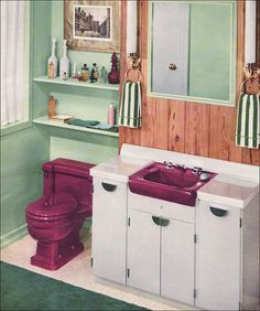 1957 T'ang Red Dresslyn Sink & Toilet. Source: Planning Modern Bathrooms in Color by American Standard