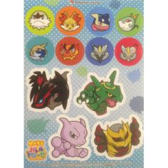 Pokemon Center 2014 Battle Trozei Mewtwo Giratina Rayquaza & Friends Sticker Sheet Lottery Prize NOT SOLD IN STORES
