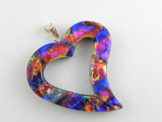 fused glass hearts | Dichroic Fused Glass Heart Pendant with Sterling Silver Post Bail - 01