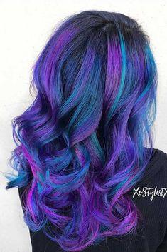 Blue and purple hair hair goals/how to get nice hair крашенн Galaxy Hair Color, Vivid Hair Color, Bright Hair Colors, Hair Color Purple, Hair Dye Colors, Cool Hair Color, Blue Hair, Colorful Hair, Peacock Hair Color