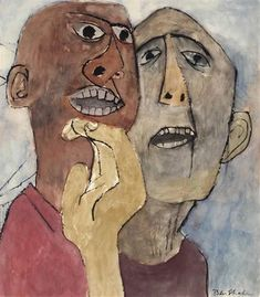 View Anger By Ben Shahn; watercolor and ink on paper laid down on board; 25 ¼ x 21 in. Access more artwork lots and estimated & realized auction prices on MutualArt. Social Realism Art, Ben Shahn, Portraits, Portrait Paintings, Textile Fiber Art, Art Archive, Outsider Art, Art Sketchbook, Watercolor And Ink