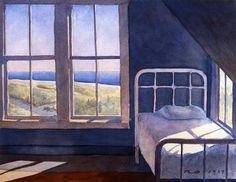 Robert Spellman. Nantucket Bedroom Watercolor
