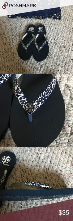 New Tory Burch Flip Flops Navy Blue New Tory Burch Flip Flops Navy Blue. This sandals are so beautiful unfortunately I purchased it as a size 7, but run super small is more like a 6 Tory Burch Shoes Sandals