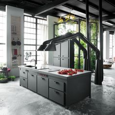 Kitchen Design Trends 2016 – 2017 – InteriorZine on Inspirationde Kitchen Hood Design, Industrial Kitchen Design, Kitchen Hoods, Best Kitchen Designs, New Kitchen, Kitchen Ideas, Industrial Loft, Country Kitchen, Black Kitchen Cabinets