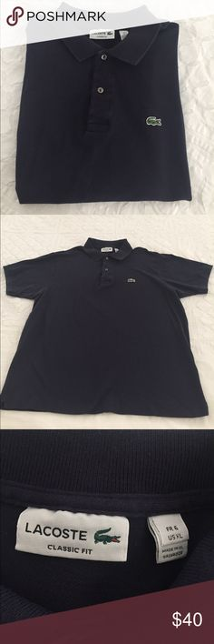 Lacoste Polo Men's Lacoste Classic Fit, navy blue cotton pique sleeve polo shirt. Lacoste Shirts Polos