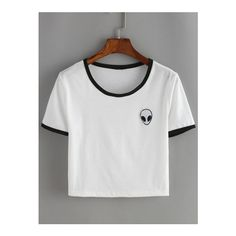 SheIn(sheinside) White Contrast Alien Print Crop T-Shirt (€7,90) ❤ liked on Polyvore featuring tops, t-shirts, white, print t shirts, white crop tee, white top, crop tee and white round neck t shirt