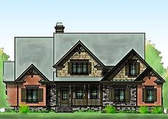 Timber Ridge is a Craftsman Style Home Design with stone, vertical siding and shake. It has a two car garage, vaulted family room, stone fireplace and a rear porch. Minecraft Architecture, Architecture Design, Computer Nook, Shared Bedrooms, Master Bedrooms, Vertical Siding, Mountain House Plans, Family Room Design, Architectural Design House Plans