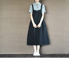 Black Suspender Skirt Long Dress Oversize Causel Women Clothes