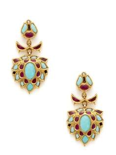 Turquoise & Ruby Geometric Drop Earrings by Amrapali at Gilt
