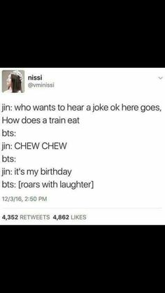 I will be pulling my birthday on my birthday when I tell jokes Jin Dad Jokes, Bts Memes Hilarious, Bad Puns, Lol, About Bts, Bts Group, Bts Jin, Bts Boys, K Idols