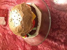My homemade hamburger cake for my son's 15th birthday