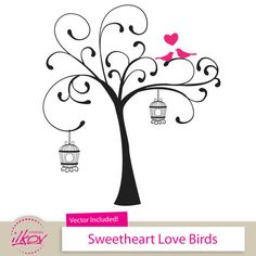 Love Birds Clipart for Wedding Invitations, Wall Art, Digital Scrapbooking and More - 12 Birds in a Tree Clipart by Amanda Ilkov