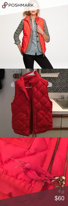 Jcrew Orange/Coral Excursion Vest XS Jcrew orange excursion vest! Size XS The coved picture shows its true color best. Slight fraying on the zipper pull but otherwise great condition! Make offers 😊 J. Crew Jackets & Coats Vests