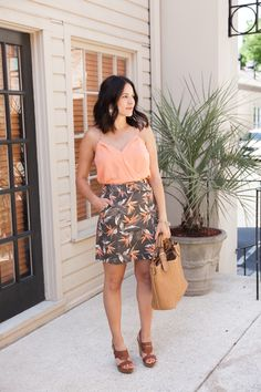 Palm print skirt out