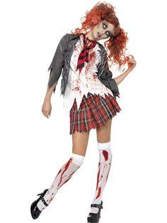 Women's Halloween Costume-High School Zombie Schoolgirl