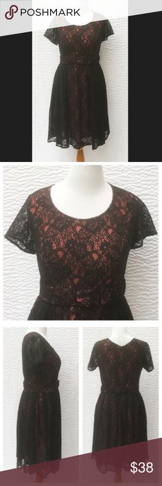 "New Eshakti Fit & Flare Lace Cocktail Dress 16W New Eshakti peach & black lace fit & flare dress. 16W Measured flat: Underarm to underarm: 41"" Waist: 36"" Length: 40"" Eshakti size guide for 16W bust: 43"" Scoop neck, princess seamed bodice, back hidden zipper. Seamed waist, removable belt, flared skirt w/ side seam pockets. Back hidden zipper w/ rouleau button top closure, side seam pockets. Black lace over peach polyester. Polyester. Hand wash. New w/ cut out Eshakti label eshakti Dresses…"