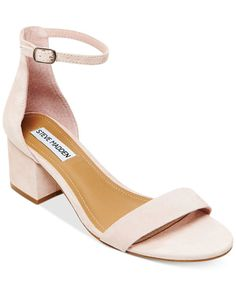 Steve Madden tempers the delicate ankle strap on these Irenee sandals with a chunky, block heel in fashion-forward style. | Suede upper; manmade sole | Imported | Round open-toe ankle-strap dress sand