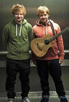 My heart loves this picture too much.Ed Sheeran and Rupert Grint! #redheads